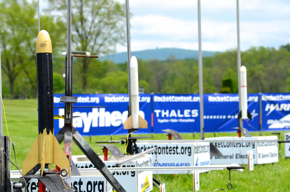 Student-built rockets waiting for launch.Credit: Team America Rocketry Challenge
