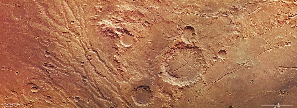 The Arda Valles region was the scene of massive water flows from the southern highlands into the Ladon Basin. The channels are still visible in this image from the European Space Agency's Mars Express Orbiter.  Credit:    ESA/DLR/FU Berlin, CC BY-SA 3.0 IGO