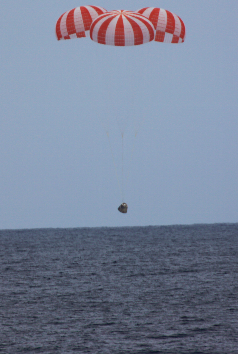 The SpaceX Dragon capsule splashing down in the Pacific Ocean carried experiments designed by teenagers.  Credit: SpaceX