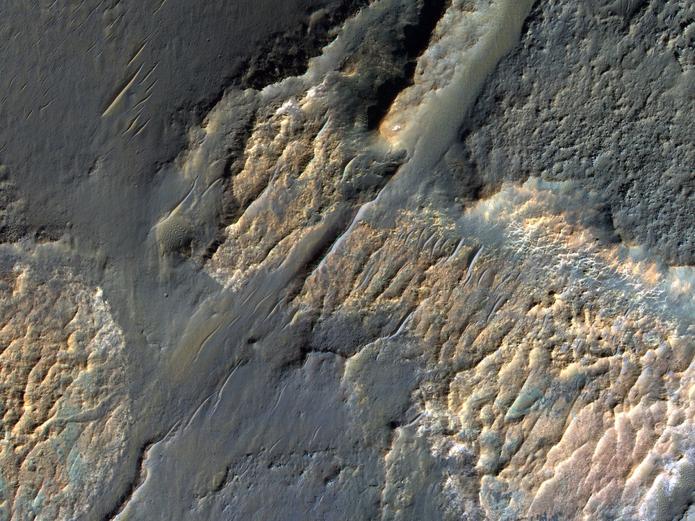 Water may once have filled the Gorgonum Basin. Wind eroded the soft sediment to expose bedrock in these unusual patterns. Credit: Nasa/JPL-Caltech/University of Arizona