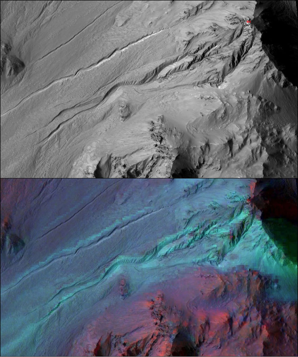 "Blue means no water. Researchers could not find evidence of water in the ""gullies"" of Mars. The false-color image is based on data from the Mars Reconnaissance Orbiter's spectrometer."