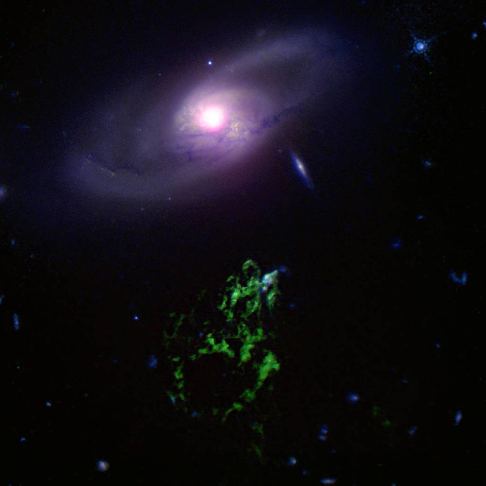 Hanny's Voorwerp (in green) glows from the energy once pouring into it from a nearby galaxy. New X-ray data (white) helps a team of scientists understand the interaction between the galaxy's central black hole and the surrounding intergalactic medium.  Credit:  X-ray: Nasa/CXC/ETH Zurich/L. Sartori et al, Optical: Nasa/STScI