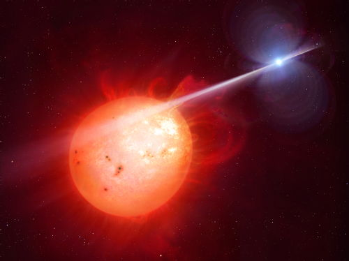 An artist's rendering of AR Scorpii. Amateur astronomers noticed the binary star system's unusual behavior caused when the white dwarf bathes its red dwarf companion with a beam of electrons.  Credit:  Warwick University
