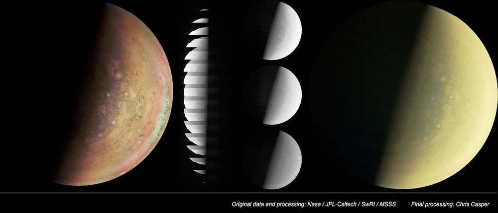 My image (far left) is based on a series of processing steps from the Junocam team. The raw data downloaded from Juno is a stack of image stripes. The stripes must be converted into images for each of the red, green, and blue filters. These get combined into a final color image (far right) which has a yellowish cast to it.