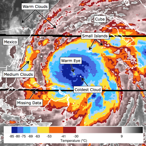 Citizen scientists at the Cyclone Center analyze space-based infrared images of hurricanes, typhoons, and tropical cyclones to catalog the storms' intensities.  Credit:  Cyclone Center