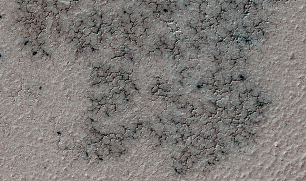 """Spiders"" appear every spring in the southern hemisphere of Mars. They form as dust is blown onto the winter's frozen carbon dioxide. Once summer arrives and the carbon dioxide sublimates, the spiders disappear. Credit: Nasa/JPL-Caltech/University of Arizona"