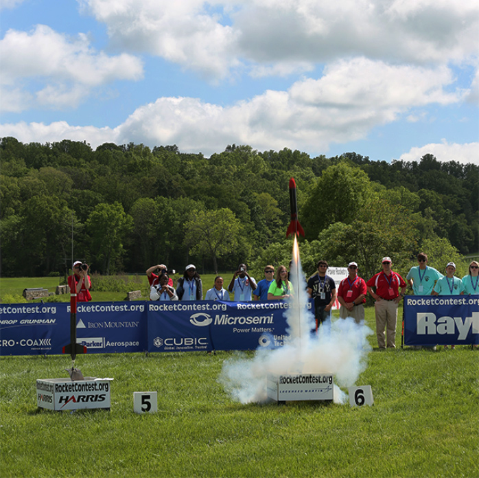 Rockets launching at last summer's Team America Rocketry Challenge. Credit: TARC