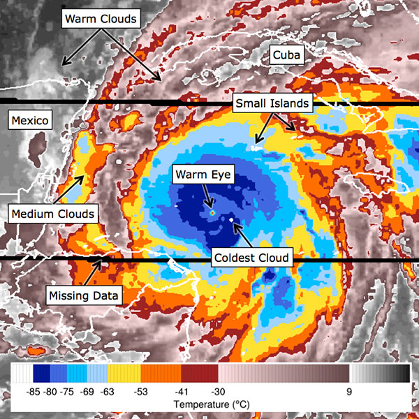 Citizen scientists analyze images like this to help scientist build a 40-year record of cyclone (aka hurricane, aka typhoon) intensities. Credit: Cyclone Center