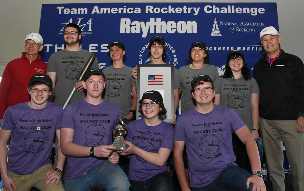The 2017 US rocketry champions took first prize at the Team America Rocketry Championships.  Source: AIA