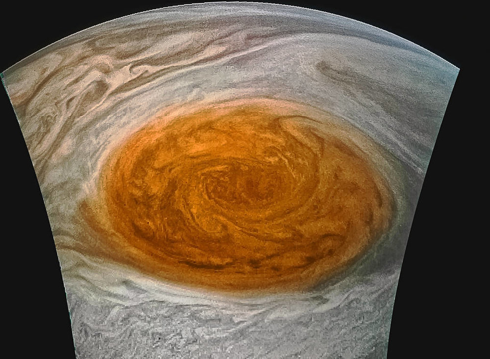Within hours of Juno's swing by Jupiter's Great Red Spot amateurs were processing Nasa's data to make amazing pictures like this.  Credit  : Nasa / JPL-Caltech / SwRI / MSSS / Jason Major