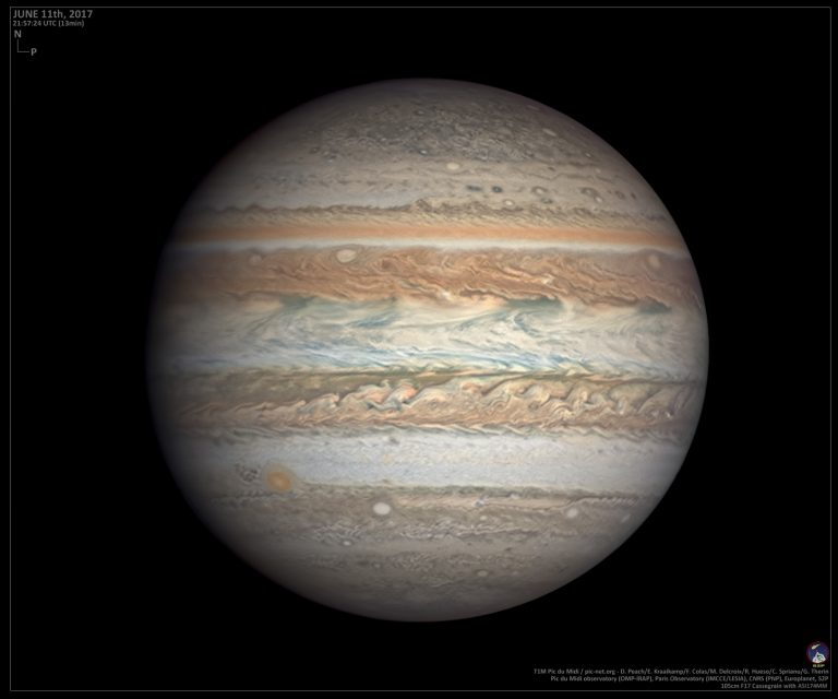 Amateur astronomers helped create this image of Jupiter as part of a long-term research project on planetary weather.  Credit: D. Peach/E. Kraaikamp/ F. Colas / M. Delcroix / R. Hueso/ C. Sprianu / G. Therin / Pic du Midi Observatory (OMP-IRAP) / Paris Observatory (IMCEE / LESIA) / CNRS (PNP) / Europlanet 2020 RI / S2P