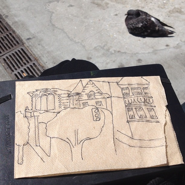 Lunch time doodles with my pigeon pal. (Taken with Instagram)