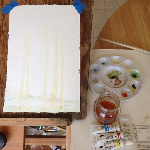 Painting with leftover coffee. #wastenotwantnot  (Taken with  instagram )