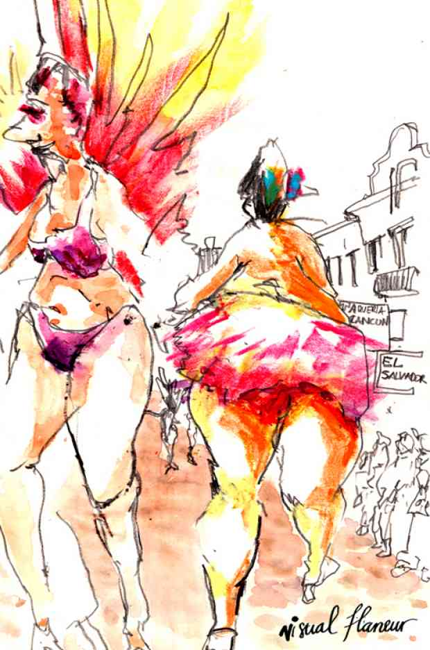 This time last year I was waking up to the booming sounds of drums. This year I was out of town, and subsequently missed all of the festivities taking place in San Francisco this weekend. Luckily,  Visual Flaneur  captured  San Francisco's Carnival  through vibrant sketches like this one.