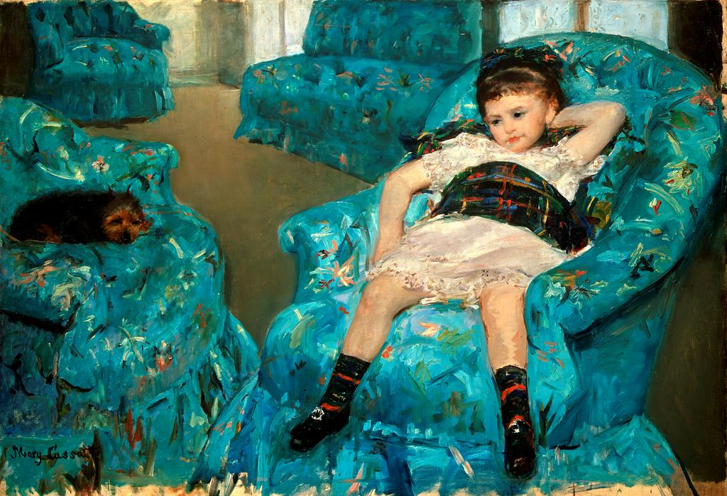"cavetocanvas :   Mary Cassatt,  Little Girl in a Blue Armchair,  1878  This painting was rejected from an exhibition where Cassatt was trying to show her work with American artists: the organizers objected to the pose of the child, with someone describing it as being of ""almost sensual abandon,"" which clearly speaks to the masculine point of view of the critic (and the art world in general at that point). The girl's pose is almost like a parody of an adult image - even though the girl has one hand behind her head and the other near her hip, her expression speaks to a childhood petulance and boredom. Cassatt never had children herself, but she liked painting them because they had no preconceived notions of what was acceptable. Children, to Cassatt, were truthful and free from social constraints, something that Cassatt would have been hyper aware of in her capacity as a woman artist."
