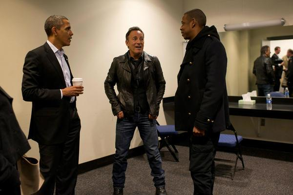 awesomepeoplehangingouttogether :      Barack Obama, Bruce Springsteen and Jay-Z in Ohio
