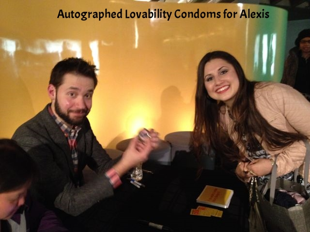 An autographed book for autographed Lovability Condoms