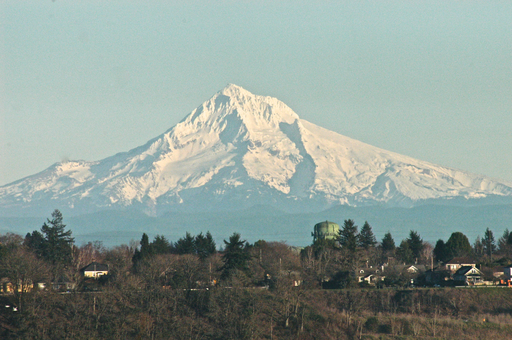 Mt Hood in all its glory on a beautiful Portland day in late January while the Northeast was preparing to be pummeled by back to back snow storms.