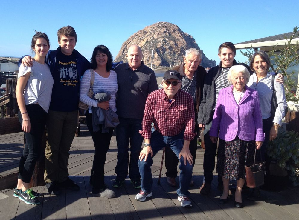 Celia, Wyatt, Angelica, my brother Tim, me, Del Grubbs, Cooper, Julia Gordon Grubbs (Mom) and Noelle at Morro Bay, California