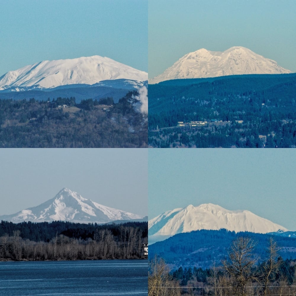 "A ""serendipitous"" four peak day on Jan 10, 2016 near Portland, Oregon on a 2 hour drive never more than 45 miles from my front door all taken from Oregon vistas. Clockwise: Mt. Saint Helens, Mt. Rainier, Mt. Adams and Mt. Hood."