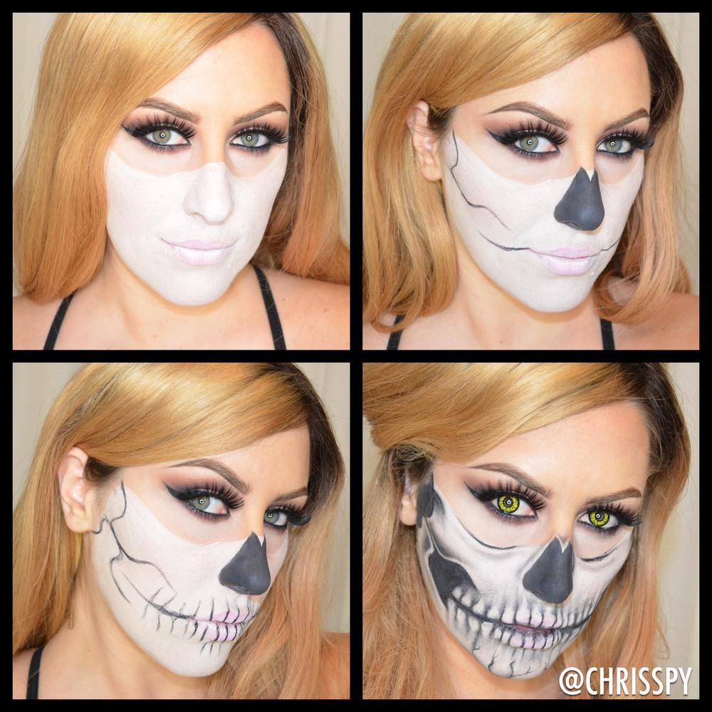 Half Skull Halloween Look