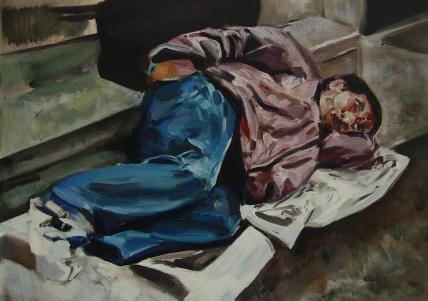 Homeless on Newspapers