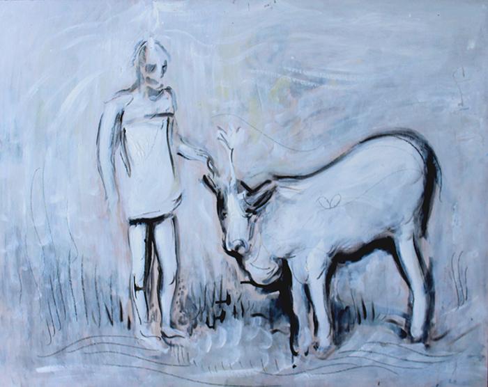 Alex Carletti Visionary Art Ramana Maharshi Puts cow in Samadhi
