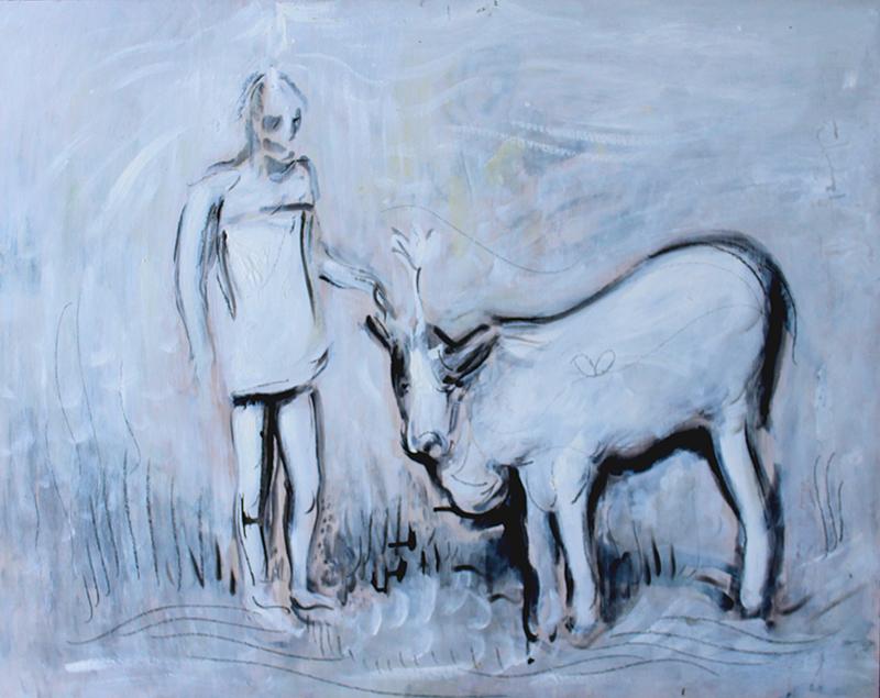 Alex Carletti Visionary Artist Ramana Maharshi Puts a Cow in Samadhi