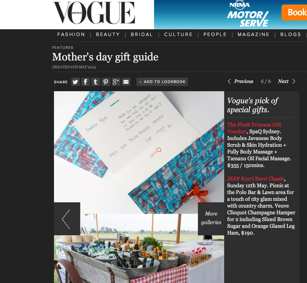 Image of spaQ gift cards used fro Vogue Australia Gift Guide