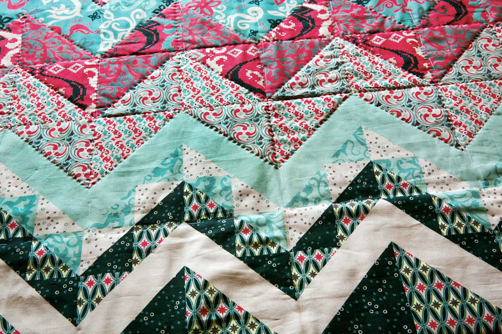 Folk Fusion Cheater Quilt in process. Available as a panel at Spoonflower.com