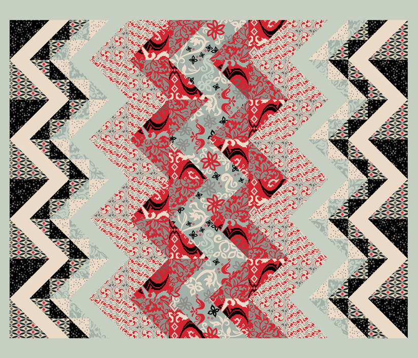 One yard panel design of Folk Fusion cheater fabric from Spoonflower.com