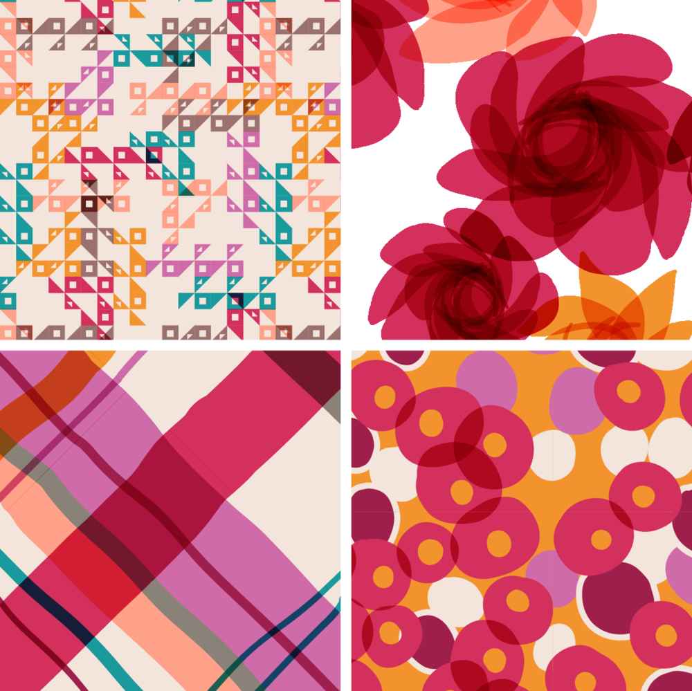 Cocktail Flowers Collection, available soon at Spoonflower.com