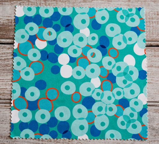 Cocktail Dots blues-2  printed on Performance Knit fabric.