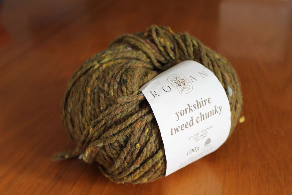 Yorkshire Tweed Chunky yarn by Rowan Yarns. (Yarn has been discontinued.)
