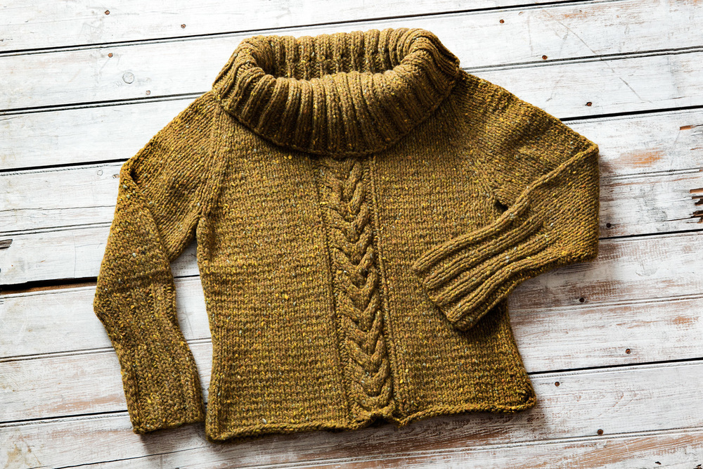 First sweater knit in chunky tweed yarn.