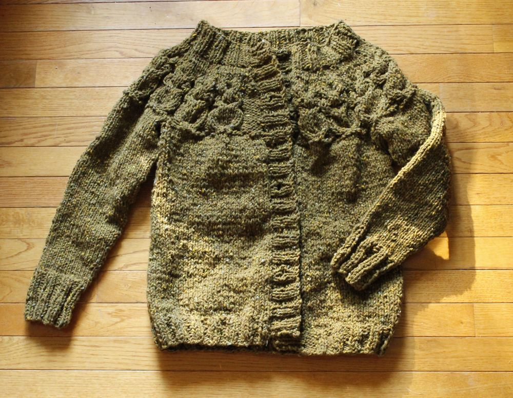 Owls Cardigan, waiting to be blocked and have buttons added.
