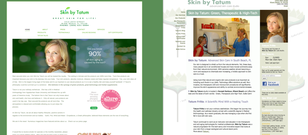 Site created for Skin By Tatum - their original site is on the right
