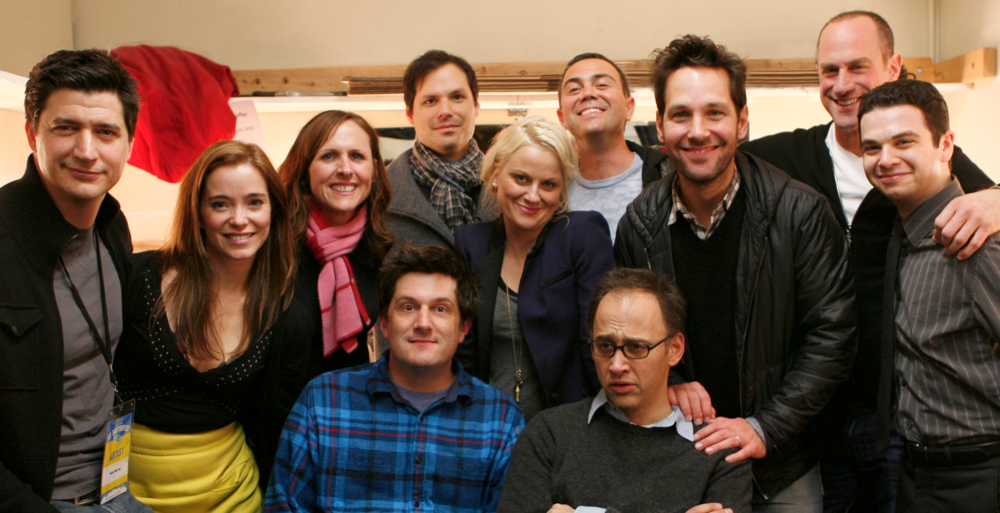Wet Hot American Summer cast at SF Sketchfest Jan 2012 (Ken Marino, Marguerite Moreau, Molly Shannon, Michael Showalter, Michael Ian Black, Amy Poehler, Joe Lo Truglio, David Wain, Paul Rudd, Christopher Meloni, Samm Levine) photo by Seth Olenick