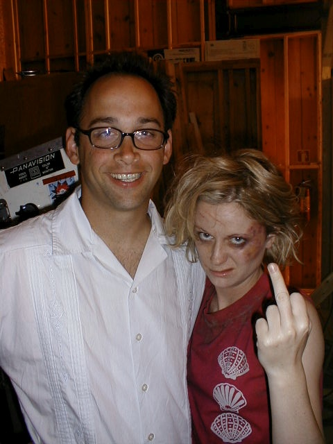 on the set of Wet Hot American Summer with Amy Poehler, 2000