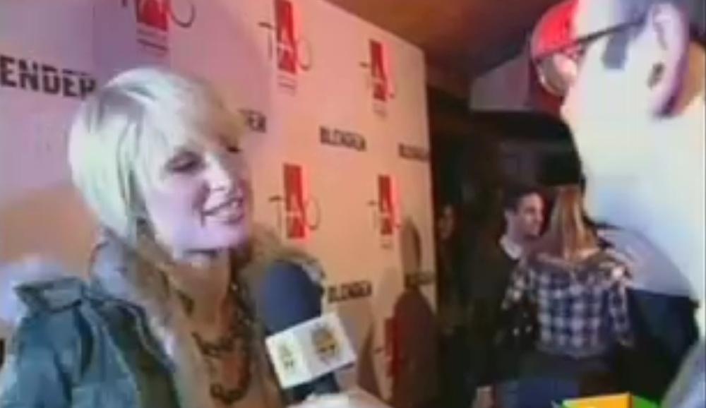 Interviewing Paris Hilton at Sundance, 2006.