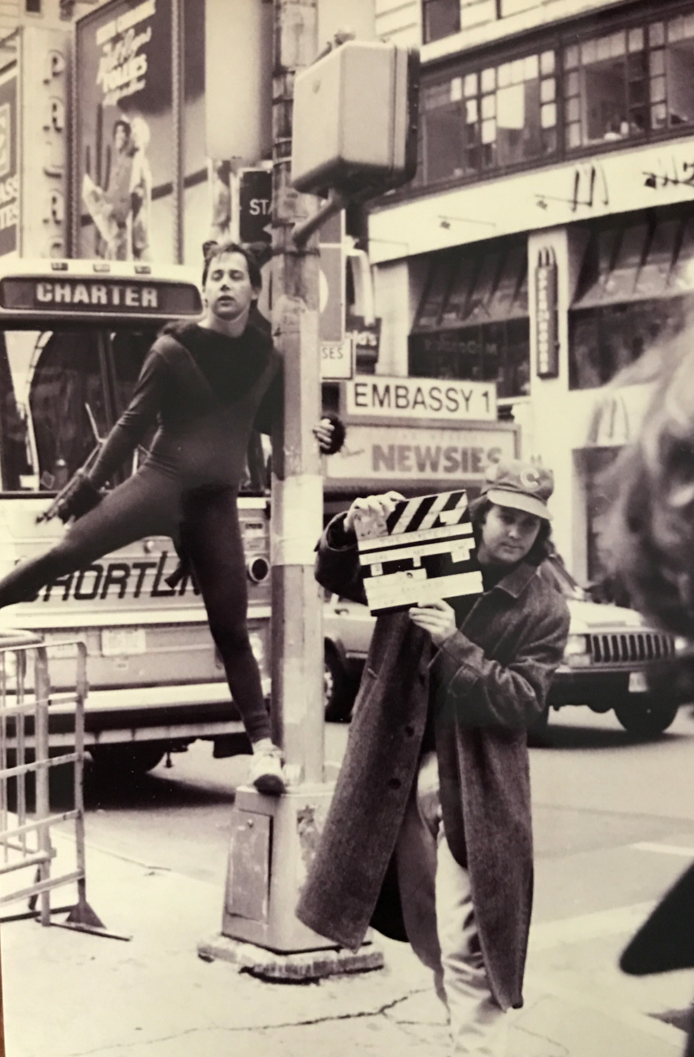 """Me and Thomas Lennon shooting """"The Waiters""""around 1990. Tom & Ben recall our NYU days in this Village Voice article. (See the film below!)"""