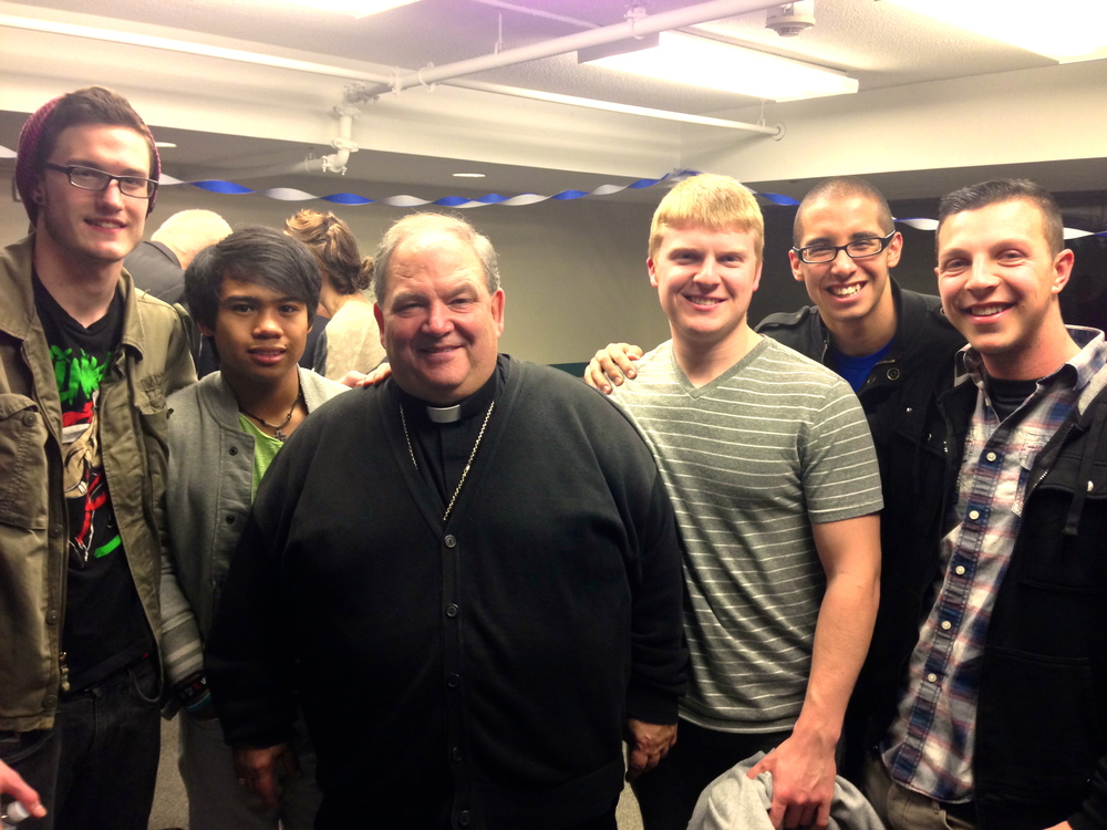 Archbishop Hebda with SPO NJ Household members (From left to right; Dan K., Meeko, Dan M, Silvio, and Mike B.)