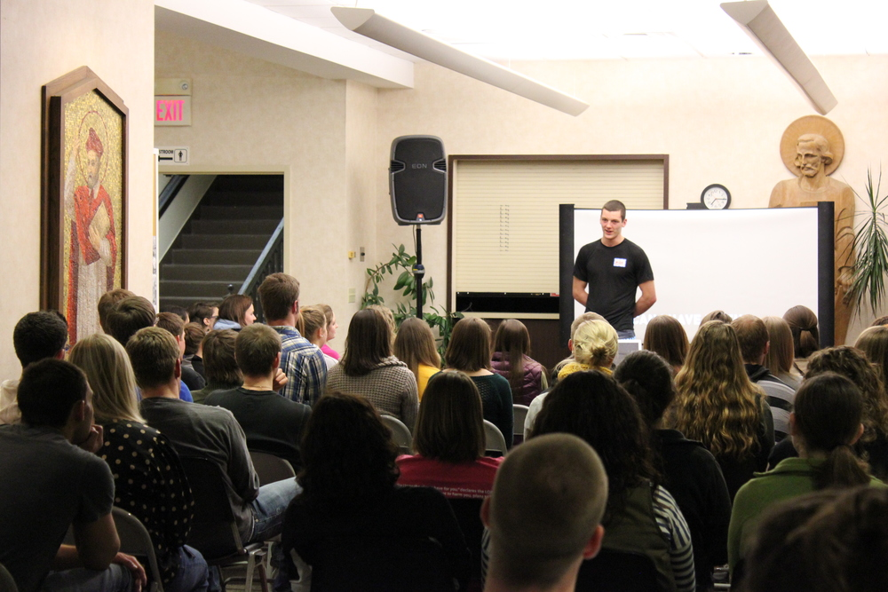 Students gather at the St. Lawrence Newman Center for the Alpha Course