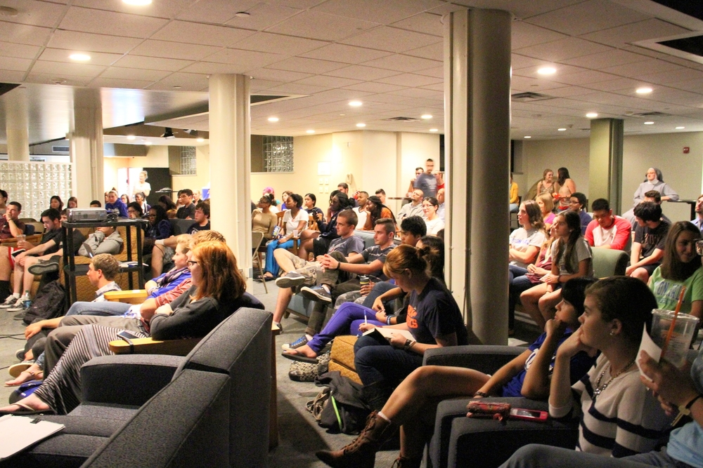 Around 130 students came to hear the talk.