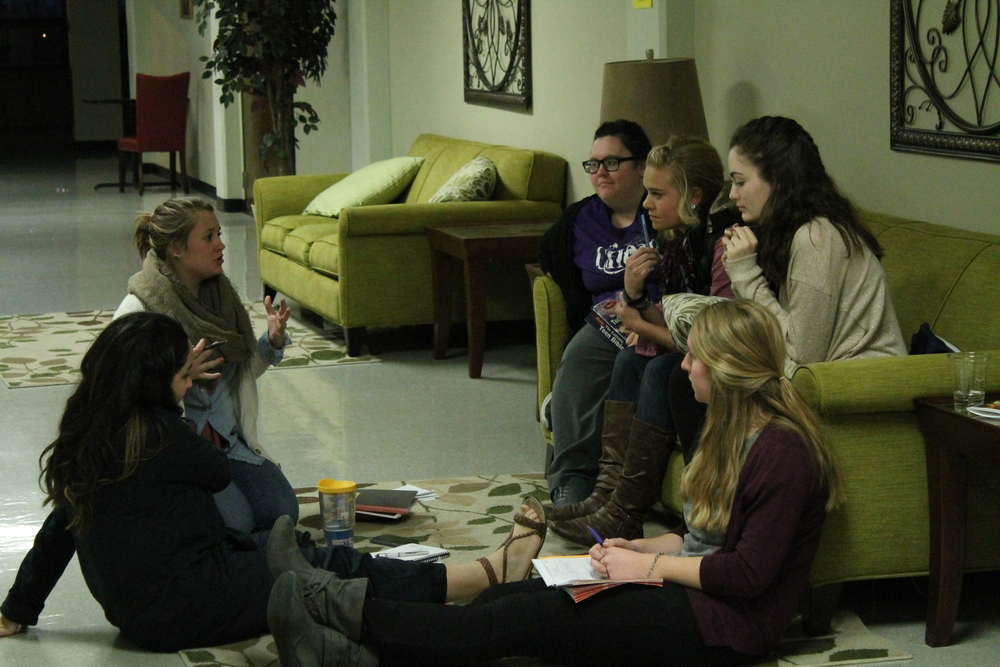 Emily (speaker on left) leading her small group at SPO Fan into Flame Retreat.