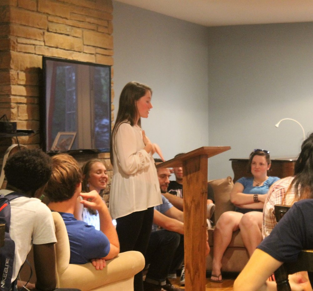 Student Missionary, Molly Martinez, encourages her peers to join a small group.