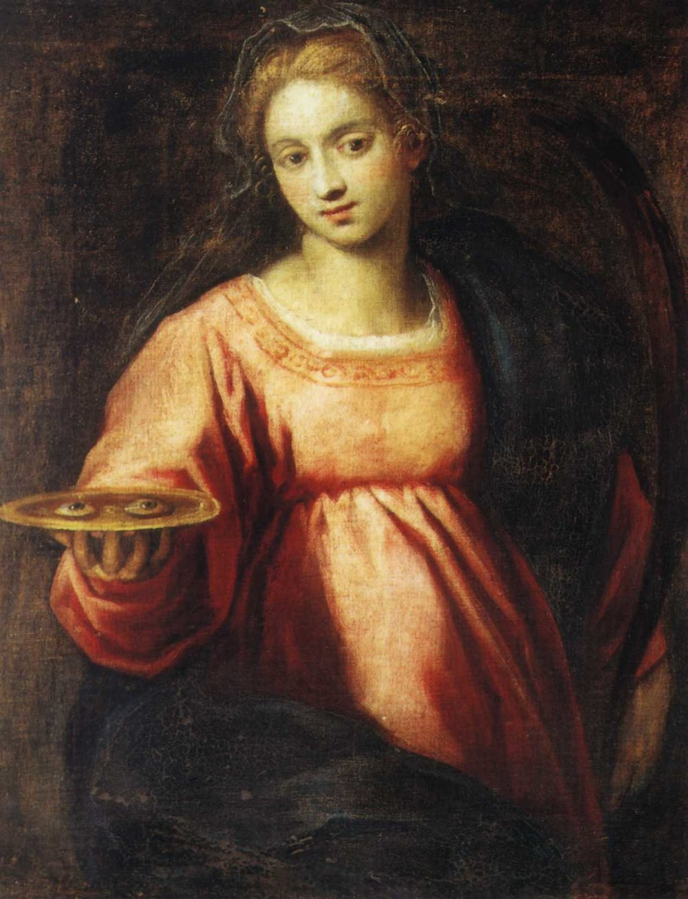 A Painting of Saint Lucy holding her gouged eyes on a platter