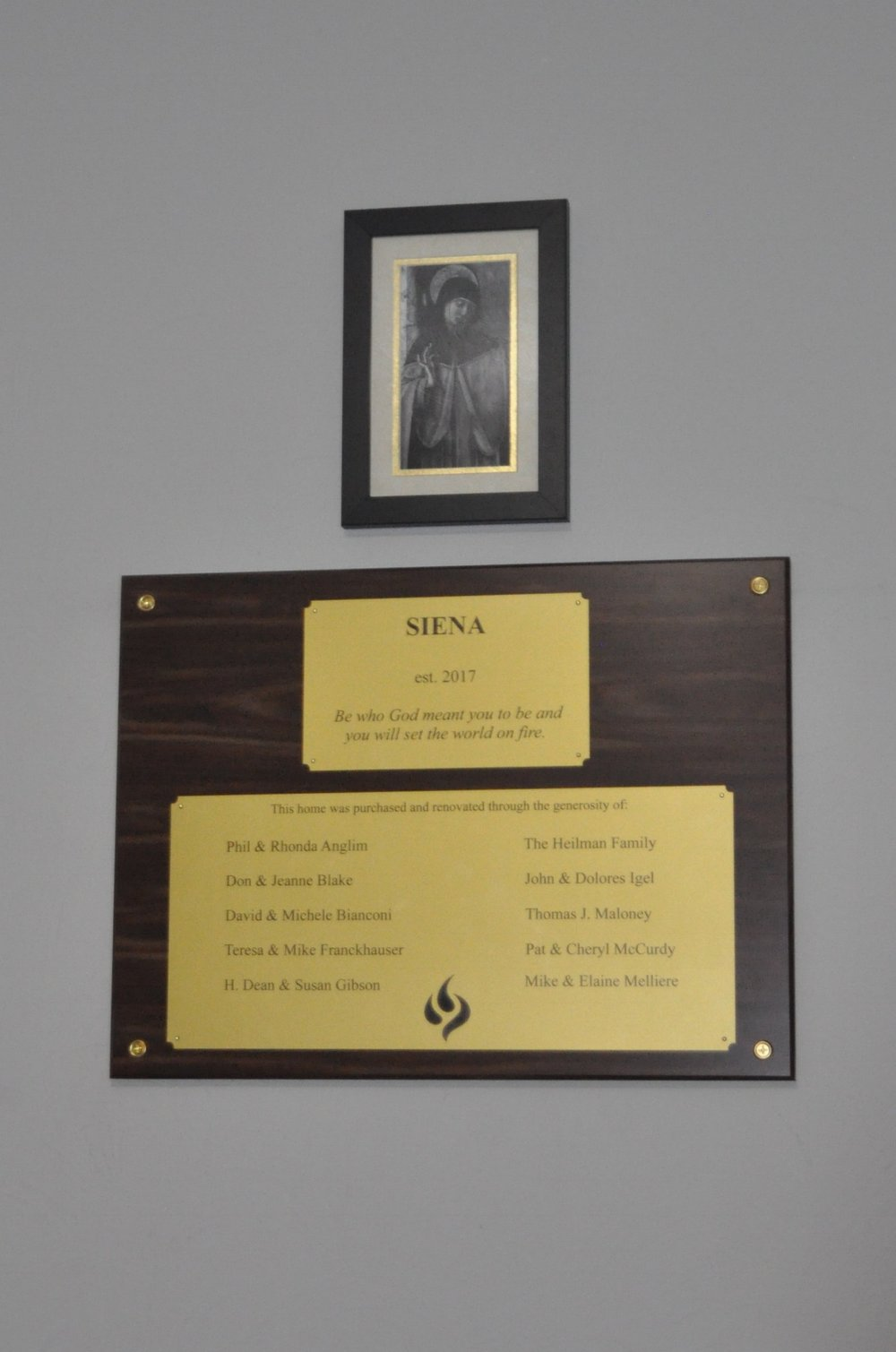 Plaque honoring key donors