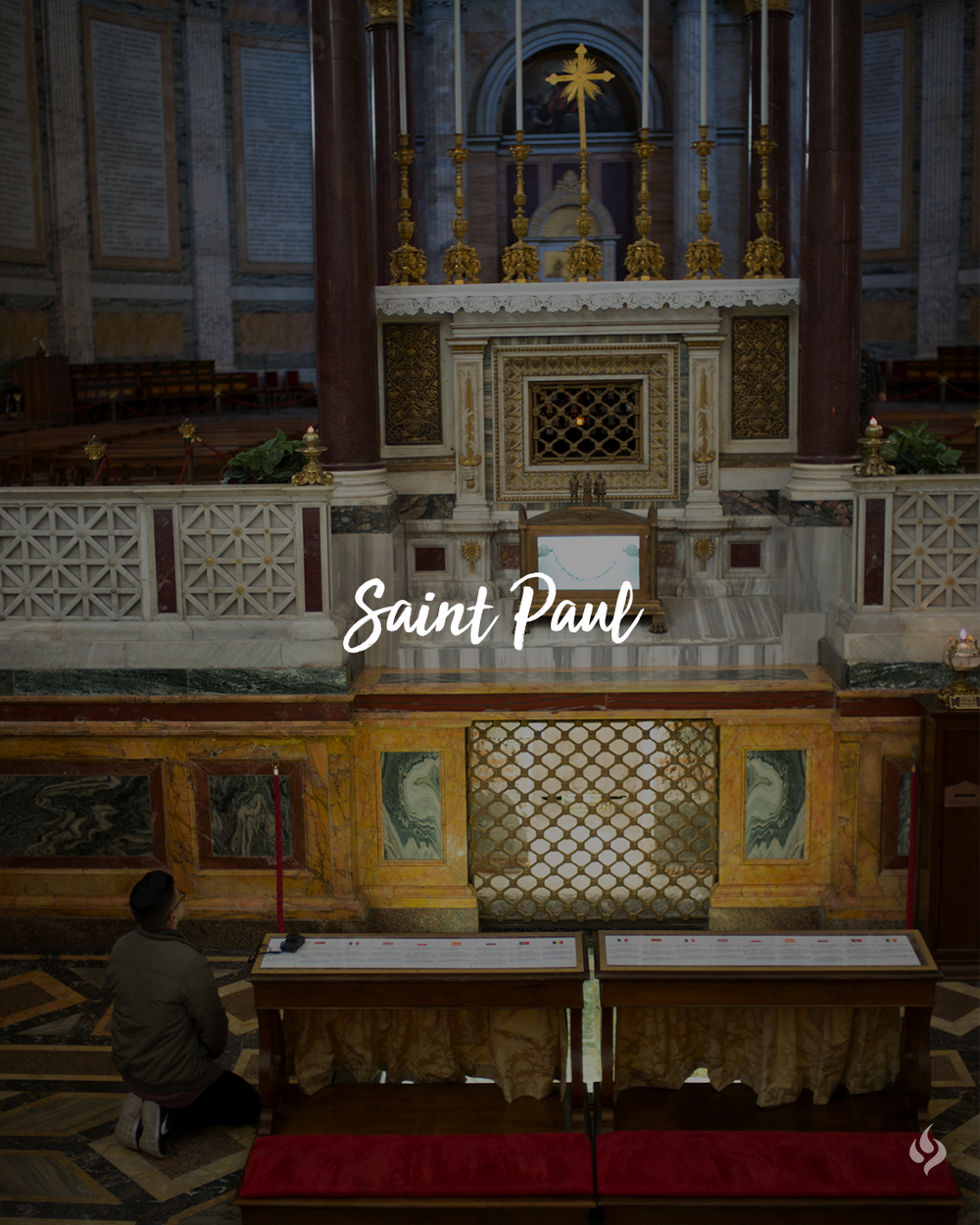 Tomb of Saint Paul  at the Basilica of Saint Paul Outside the Walls, Rome, Italy