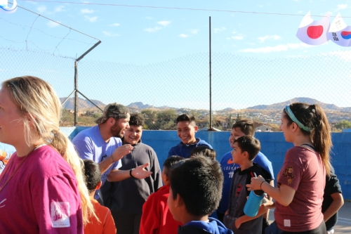 "Our team and the youth of the Nogales community getting ready for the ""Olympic Games"" that they competed in"